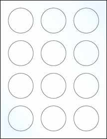 "Sheet of 2"" Circle Clear Gloss Laser labels"