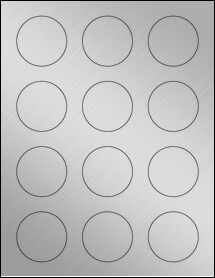 "Sheet of 2"" Circle Weatherproof Silver Polyester Laser labels"