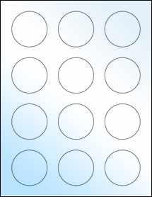 "Sheet of 2"" Circle White Gloss Inkjet labels"