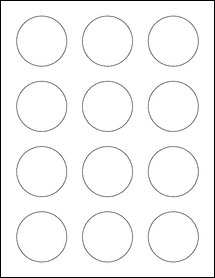 """Sheet of 2"""" Circle Removable White Matte labels"""