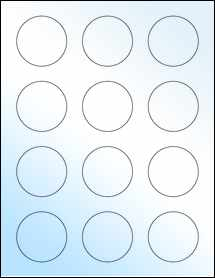 "Sheet of 2"" Circle White Gloss Laser labels"