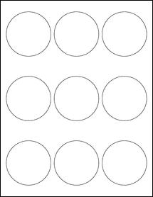 "Sheet of 2.5"" Circle Blockout for Laser labels"
