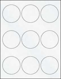 "Sheet of 2.5"" Circle Clear Matte Inkjet labels"