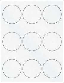 "Sheet of 2.5"" Circle Clear Matte Laser labels"