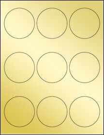 "Sheet of 2.5"" Circle Gold Foil Laser labels"