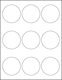 "Sheet of 2.5"" Circle Weatherproof Matte Inkjet labels"