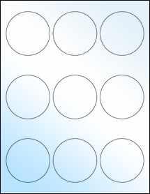 "Sheet of 2.5"" Circle White Gloss Laser labels"
