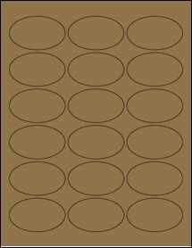 "Sheet of 2.5"" x 1.5"" Oval Brown Kraft labels"