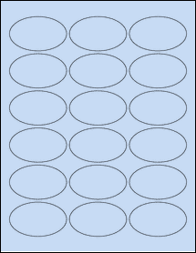 """Sheet of 2.5"""" x 1.5"""" Oval Pastel Blue labels"""