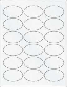 "Sheet of 2.5"" x 1.5"" Oval Clear Matte Laser labels"
