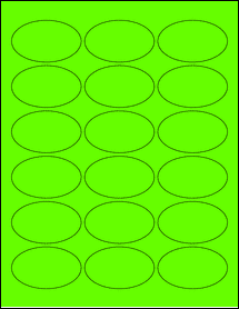 """Sheet of 2.5"""" x 1.5"""" Oval Fluorescent Green labels"""