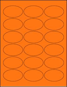 "Sheet of 2.5"" x 1.5"" Oval Fluorescent Orange labels"