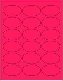 """Sheet of 2.5"""" x 1.5"""" Oval Fluorescent Pink labels"""