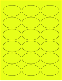 """Sheet of 2.5"""" x 1.5"""" Oval Fluorescent Yellow labels"""