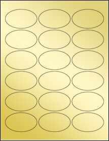 """Sheet of 2.5"""" x 1.5"""" Oval Gold Foil Inkjet labels"""