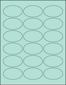 """Sheet of 2.5"""" x 1.5"""" Oval Pastel Green labels"""