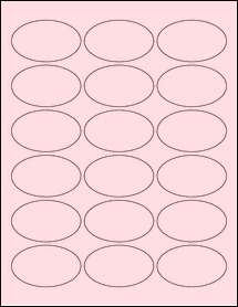 """Sheet of 2.5"""" x 1.5"""" Oval Pastel Pink labels"""