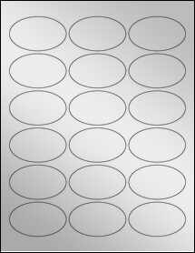 "Sheet of 2.5"" x 1.5"" Oval Silver Foil Inkjet labels"