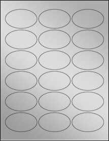 "Sheet of 2.5"" x 1.5"" Oval Weatherproof Silver Polyester Laser labels"