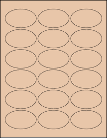 "Sheet of 2.5"" x 1.5"" Oval Light Tan labels"