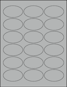 "Sheet of 2.5"" x 1.5"" Oval True Gray labels"