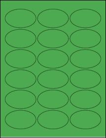 "Sheet of 2.5"" x 1.5"" Oval True Green labels"