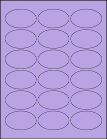 "Sheet of 2.5"" x 1.5"" Oval True Purple labels"