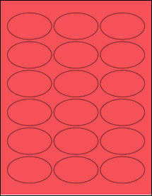 """Sheet of 2.5"""" x 1.5"""" Oval True Red labels"""