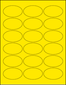 "Sheet of 2.5"" x 1.5"" Oval True Yellow labels"