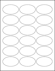 "Sheet of 2.5"" x 1.5"" Oval Removable White Matte labels"