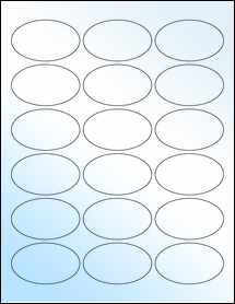 """Sheet of 2.5"""" x 1.5"""" Oval White Gloss Laser labels"""