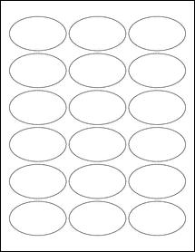 "Sheet of 2.5"" x 1.5"" Oval Standard White Matte labels"