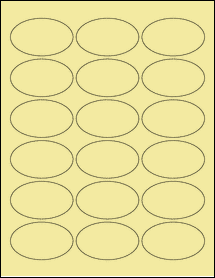 """Sheet of 2.5"""" x 1.5"""" Oval Pastel Yellow labels"""