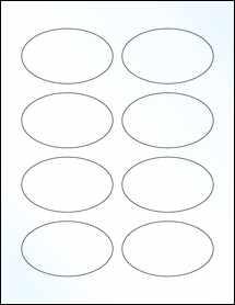 "Sheet of 3.33"" x 2"" Oval Clear Gloss Inkjet labels"