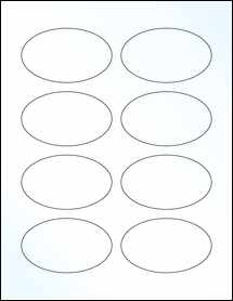 "Sheet of 3.33"" x 2"" Oval Clear Gloss Laser labels"