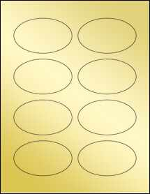 "Sheet of 3.33"" x 2"" Oval Gold Foil Laser labels"