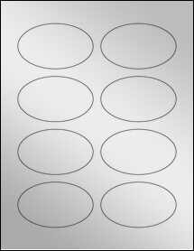 "Sheet of 3.33"" x 2"" Oval Silver Foil Inkjet labels"
