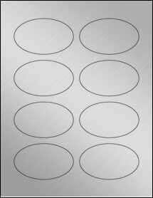 "Sheet of 3.33"" x 2"" Oval Weatherproof Silver Polyester Laser labels"