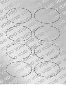"""Sheet of 3.33"""" x 2"""" Oval Void Silver Polyester labels"""