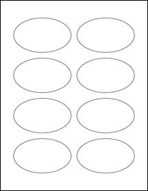 """Sheet of 3.33"""" x 2"""" Oval Weatherproof Matte Inkjet labels"""