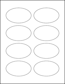 "Sheet of 3.33"" x 2"" Oval Removable White Matte labels"