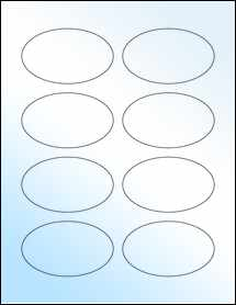 "Sheet of 3.33"" x 2"" Oval White Gloss Laser labels"