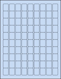 "Sheet of 0.75"" x 1"" Pastel Blue labels"