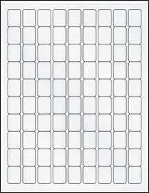 "Sheet of 0.75"" x 1"" Clear Matte Inkjet labels"