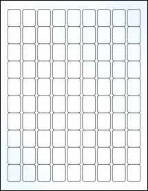 """Sheet of 0.75"""" x 1"""" Clear Gloss Laser labels"""