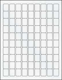 "Sheet of 0.75"" x 1"" Clear Matte Laser labels"