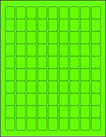 """Sheet of 0.75"""" x 1"""" Fluorescent Green labels"""