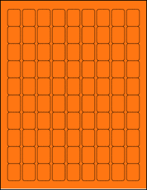 "Sheet of 0.75"" x 1"" Fluorescent Orange labels"