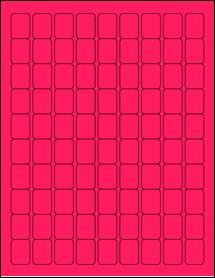 "Sheet of 0.75"" x 1"" Fluorescent Pink labels"
