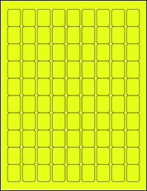 "Sheet of 0.75"" x 1"" Fluorescent Yellow labels"